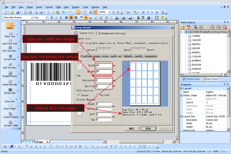 How to print multiple barcodes with variable data, Around 25 in one page, around 25 in one page